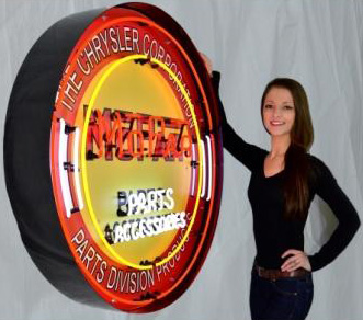Large Mopar Circle Red W/ Backing Neon Sign in Crate