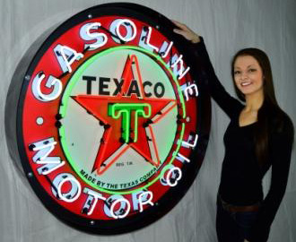 Large Texaco Motor Oil Neon Sign in Crate