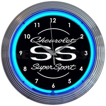 Chevrolet Ss Super Sport Blue Neon Clock