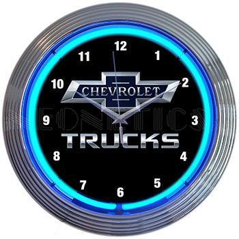 Chevy Trucks 100Th Anniversary Blue Neon Clock