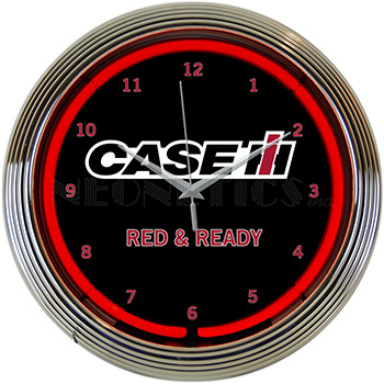 Case Ih Red And Ready Neon Clock