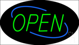 Open Deco Style Green Letters with Blue Oval Border Neon Sign