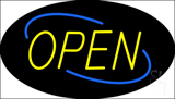 Open Deco Style Yellow Letters with Blue Oval Border Neon Sign