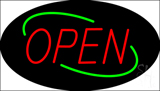 Open Deco Style Red Letters with Green Oval Border LED Neon Sign