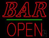 Bar Block Open Green Line Neon Sign