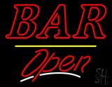 Bar Open Yellow Line Neon Sign