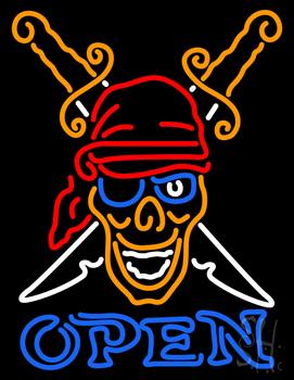 Pirates Skull Tattoo Neon Sign