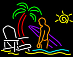 Custom Beach Boy With Surf Bord Neon Sign 1