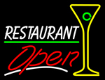 Custom White Restaurant With Martini Glass Open Neon Sign 1