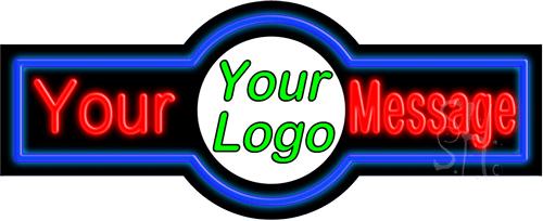 Custom Center Logo Blue Border Neon Sign