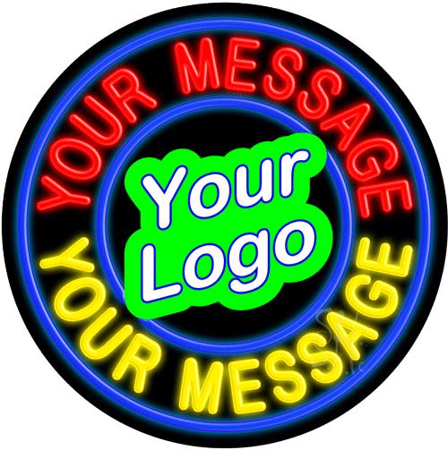 Custom Logo Blue Circle Neon Sign