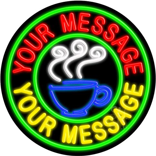 Custom Coffee Cup Logo Circle Neon Sign