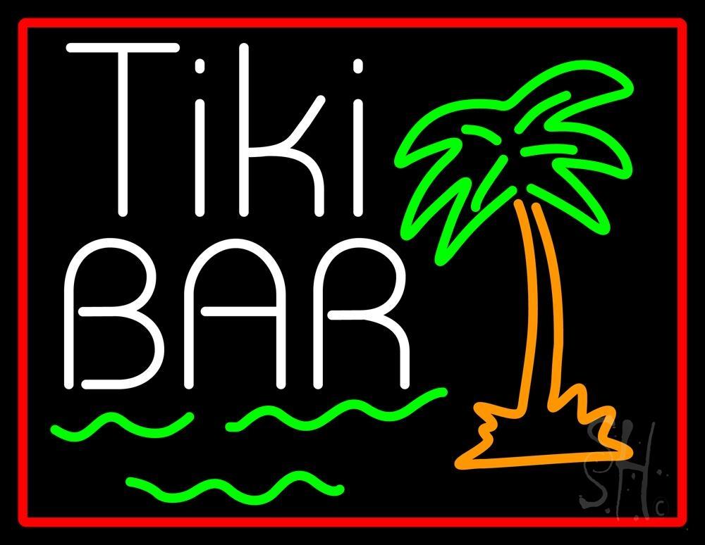 Green Tiki Bar With Palm Tree Neon Sign | Tiki Bar Neon
