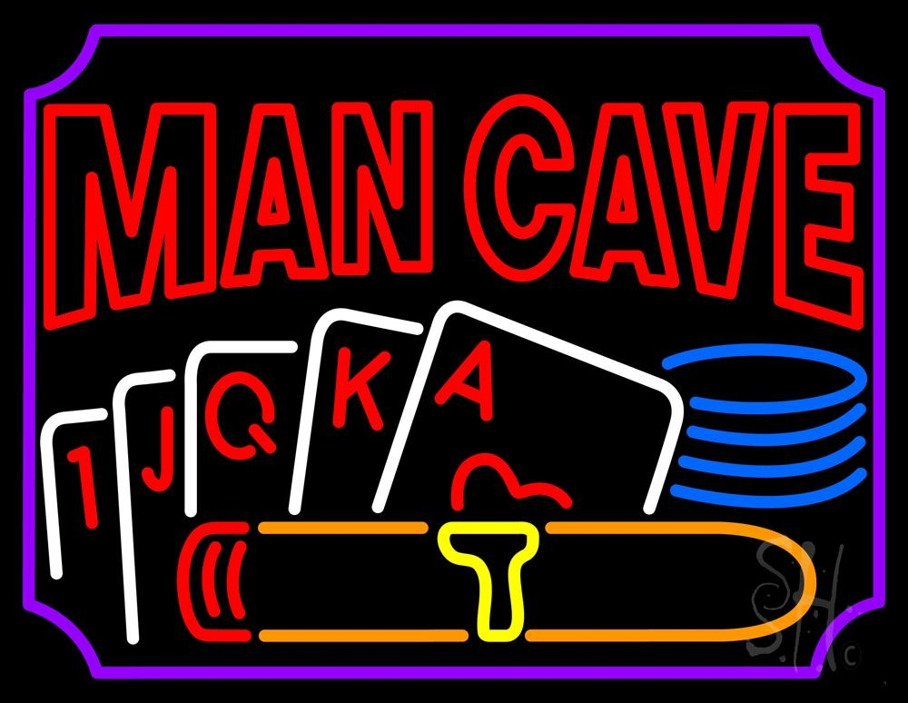 Man Cave Beer Signs : Mancave beer with cards neon sign signs