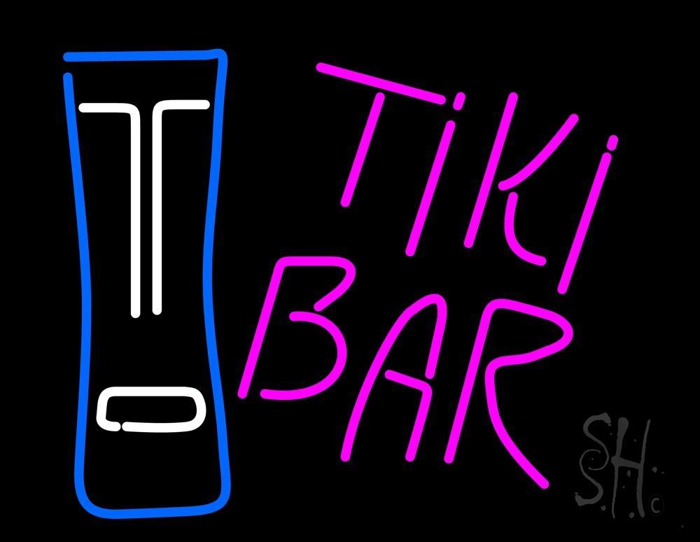 Pink Tiki Bar with Logo Neon Sign | Tiki Bar Neon Signs