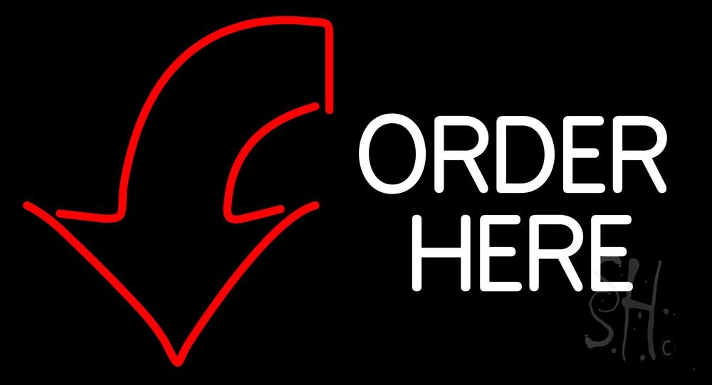 order here with down arrow neon sign