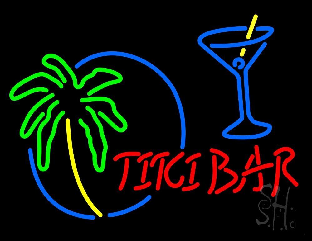 Tiki Bar With Wine Glass Neon Sign | Tiki Bar Neon Signs