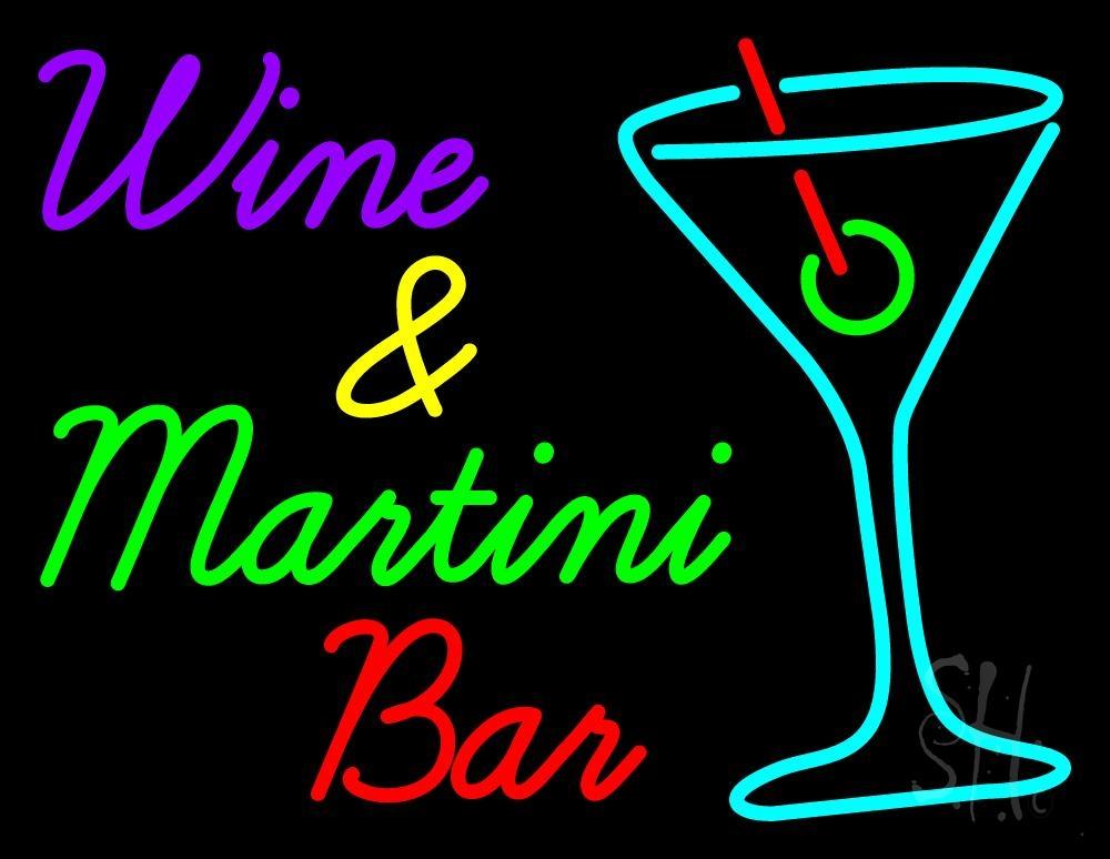 wine and martini bar neon sign