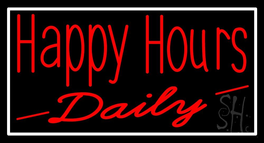 happy hours daily neon sign