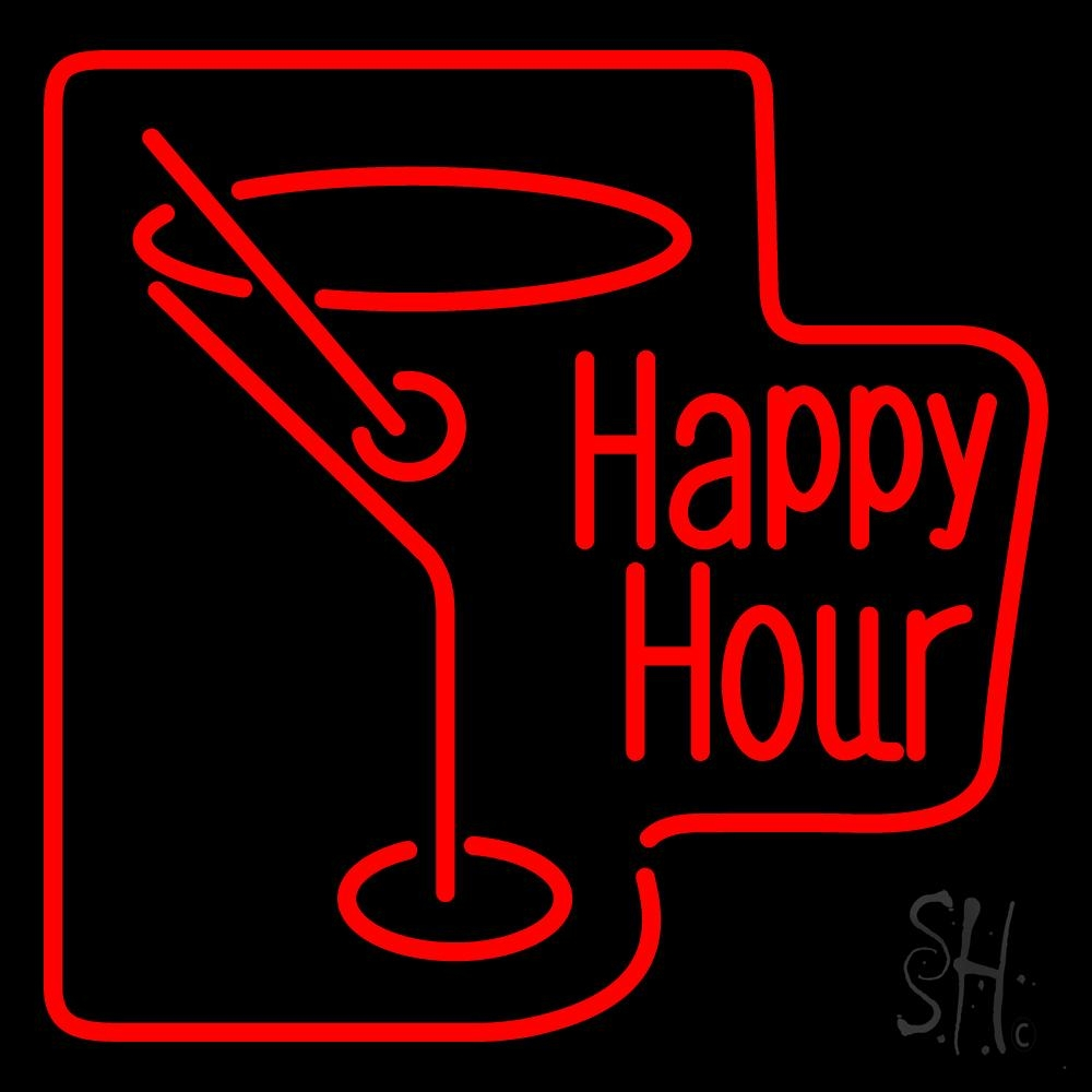 Martini Glass Happy Hour Neon Sign | Happy Hour Neon Signs