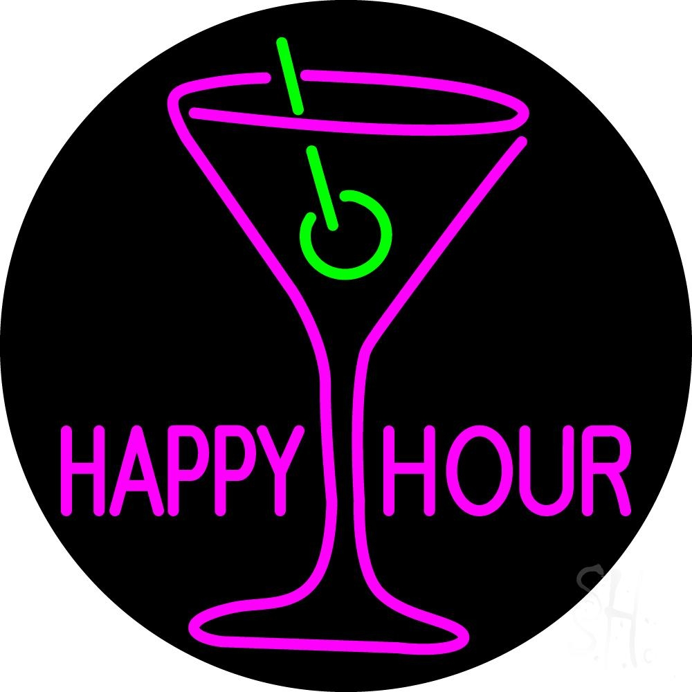 Pink Happy Hour With Wine Glass Neon Sign | Happy Hour