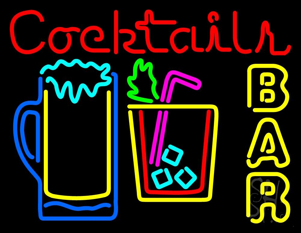 Cocktails Bar Open Neon Sign | Cocktail Neon Signs - Every