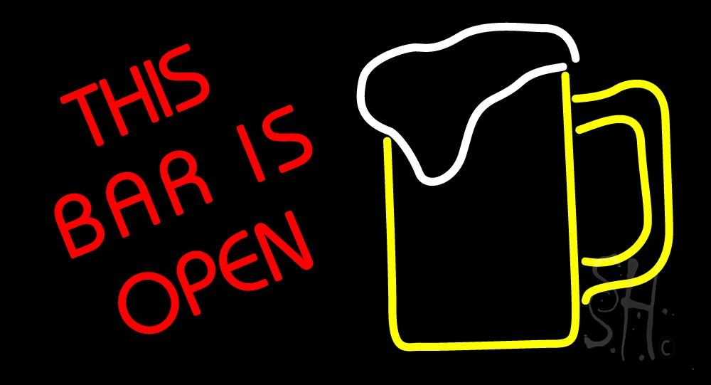 This Bar Is Open With Beer Mug Neon Sign | Bar Open Neon