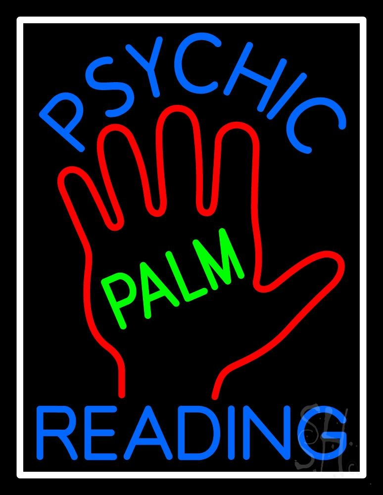 Blue Psychic Reading With Green Palm Neon Sign