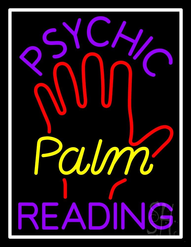 Purple Psychic Reading With Yellow Palm Neon Sign