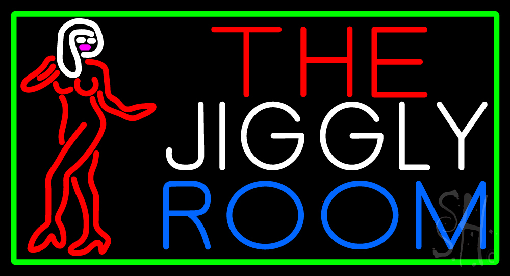 the jiggly room with girl logo neon sign strip club neon