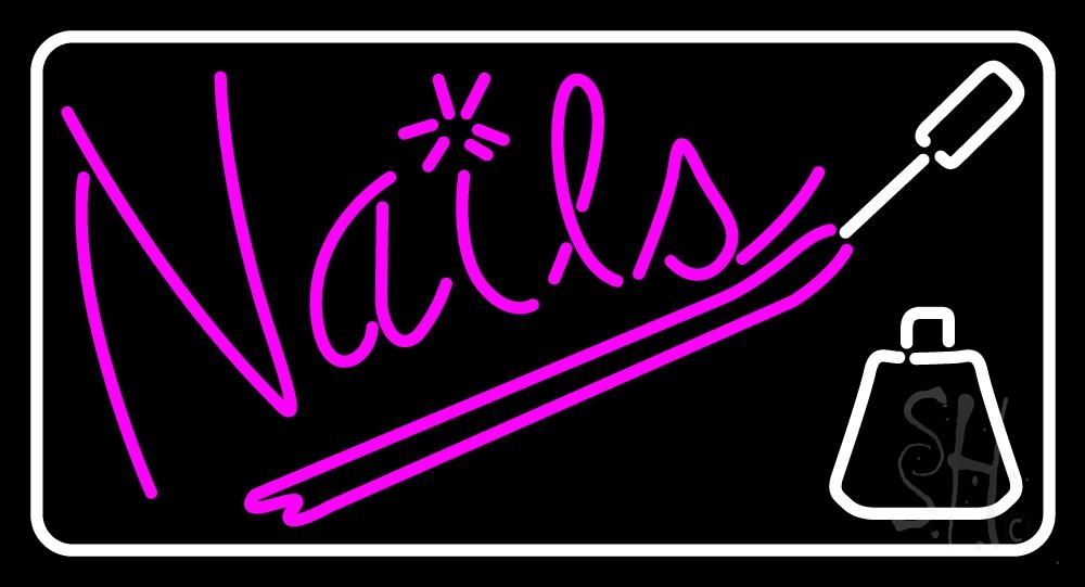 Pink Nails With Nail Polish Neon Sign   Nails Neon Signs - Every ...