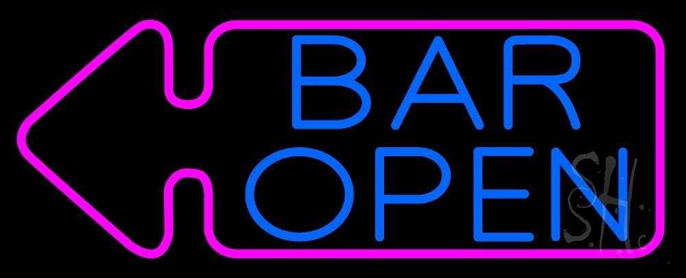 Bar Open With Arrow Neon Sign | Bar Open Neon Signs