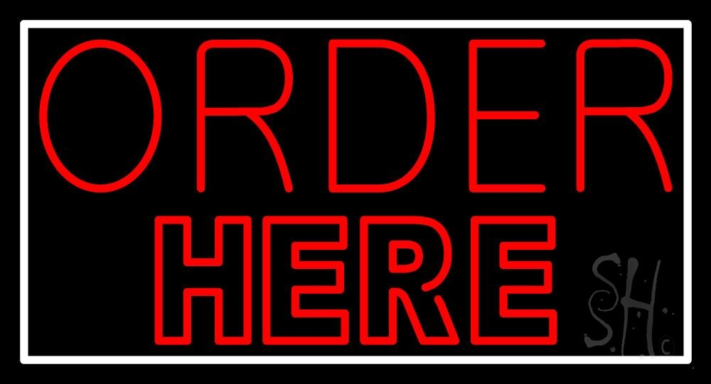 Double Stroke Red Order Here Neon Sign