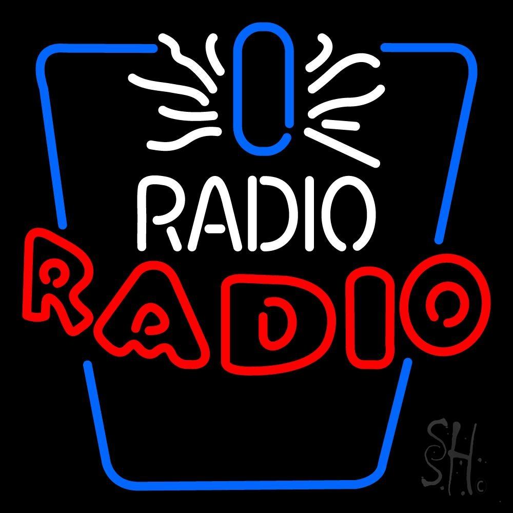 white and red radio radio neon sign