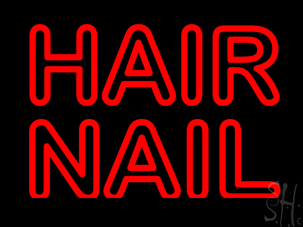 Red Double Stroke Hair Nail Neon Sign   Hair Neon Signs - Every ...