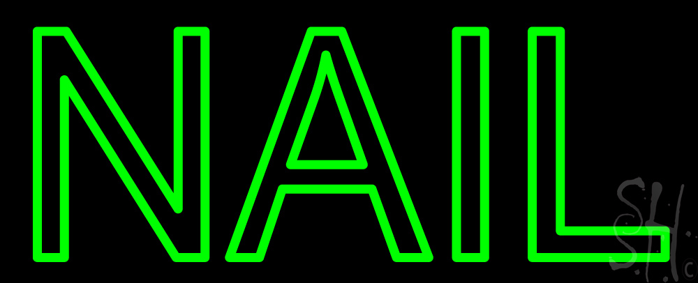Green Double Stroke Nail Neon Sign   Nails Neon Signs - Every Thing Neon