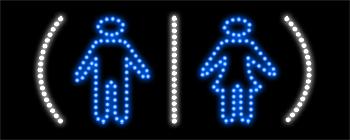 Restrooms Logo LED Sign