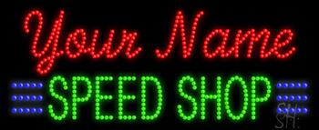 Custom Green Speed Shop Led Sign