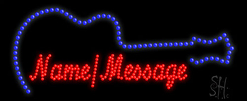Custom Blue Guitar Led Sign