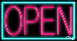 Aqua Border With Pink Open Neon Sign