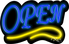 Deco Style Blue Open With Yellow Line Neon Sign