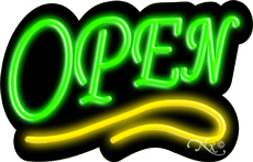 Deco Style Green Open With Yellow Line Neon Sign