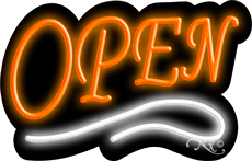 Deco Style Orange Open With White Line Neon Sign