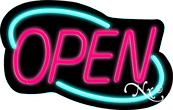 Deco Style Pink Open With Aqua Border Neon Sign
