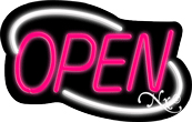 Deco Style Pink Open With White Border Neon Sign