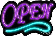 Deco Style Purple Open With Aqua Line Neon Sign