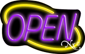 Deco Style Purple Open With Yellow Border Neon Sign