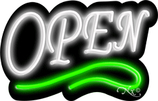 Deco Style White Open With Green Line Neon Sign