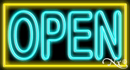 Double Stroke Aqua Open With Yellow Border Neon Sign