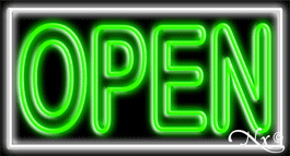 Double Stroke Green Open With White Border Neon Sign